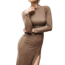 Women Autumn Knitting Sweater Dress 2018 Fashion Turtleneck Side Split Elastic Solid Color Knitted Bodycon Dress Sexy Vestidos(China)