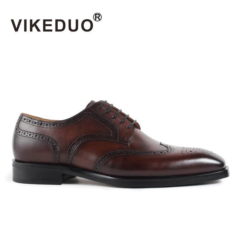 Vikeduo Handmade designer vintage Fashion Luxury Brand Party Wedding casual male shoe Genuine Leather Mens Derby Dress Shoes недорго, оригинальная цена