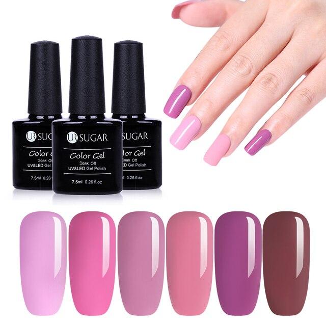 Ur Sugar Pale Mauve Pink Nail Gel Polish Pure Color Series Long Lasting Varnish Soak Off Uv Led 7 5ml Art Lacquer