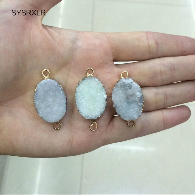 New natural drusy geode crystal white elliptical gloden plated new natural drusy geode crystal white elliptical gloden plated pendant stone women do it yourself necklaces solutioingenieria Gallery
