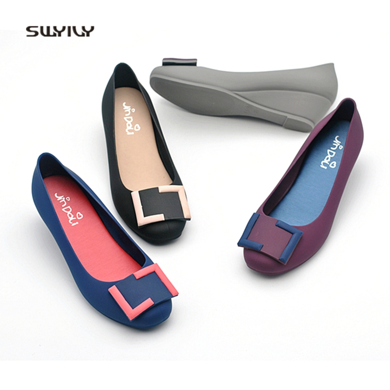 SWYIVY Plastic Sandals Shoes Woman Summer 2018 Wedge Candy Color Jelly Casual Shoes Square Shallow Mouth Slip On Sandals 40 Size