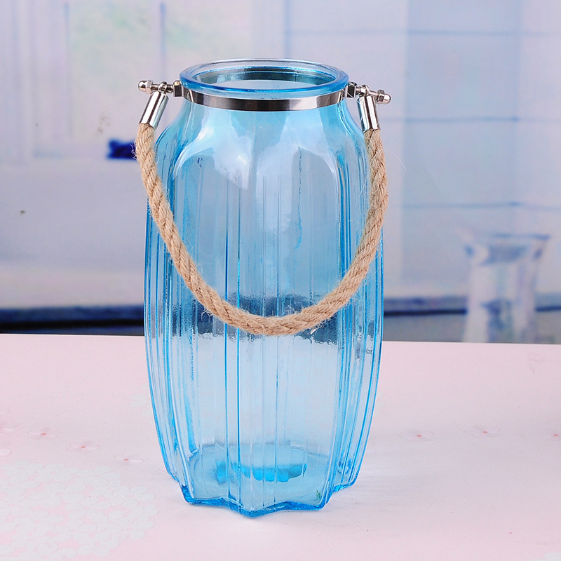 Blue Glass Vase With Flowers Glass Blue