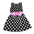 Top Quality Korean Causal Girls Polka Dot Dress White Black Blue Color Girls Summer Dress 2016 Cute Toddler Girl Clothes