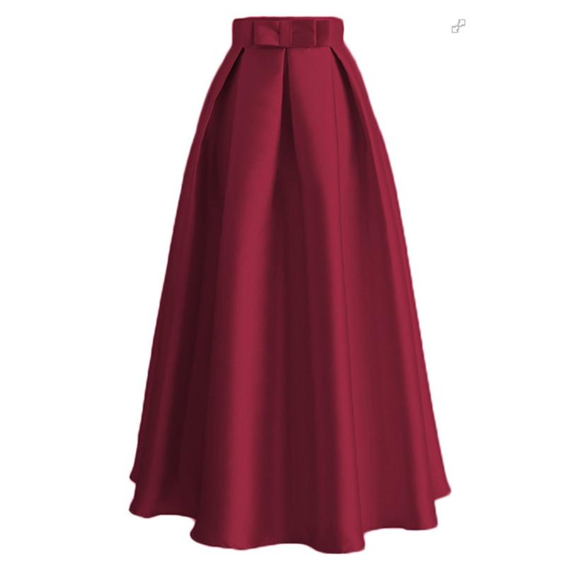 Plus Size Skirts Faldas Mujer Moda 19 Abaya Dubai Turkish Long Pleated Maxi High Waist Skirt Women Jupe Longue Femme Skirts 23