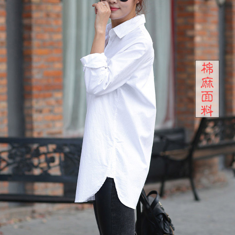 Plus Size White Shirt Women Long Sleeve Loose Cotton And Linen Korean Shirt Casual Office Ladies Large Size Women Shirts Blouse