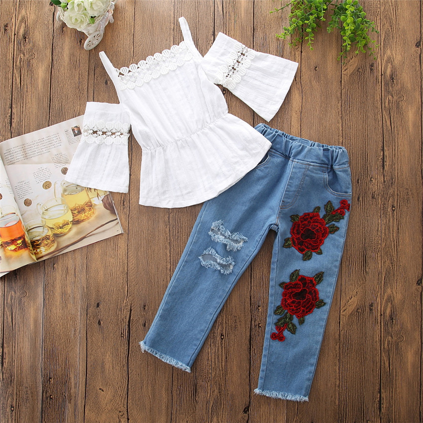 Summer Spring Baby Girls Clothing Sets Half Sleeve Sling Lace Tops Girls' Clothing rose Embroidered Jeans Pants 2 Pcs Suit Kids Clothes Sets