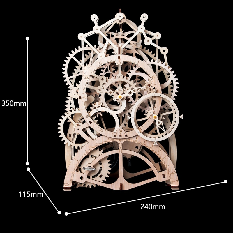Robotime DIY Wooden Vintage Desk Pendulum Clock Decoration Mechanical Gears  Crafts Home Table Accessories for Kids Room LK501