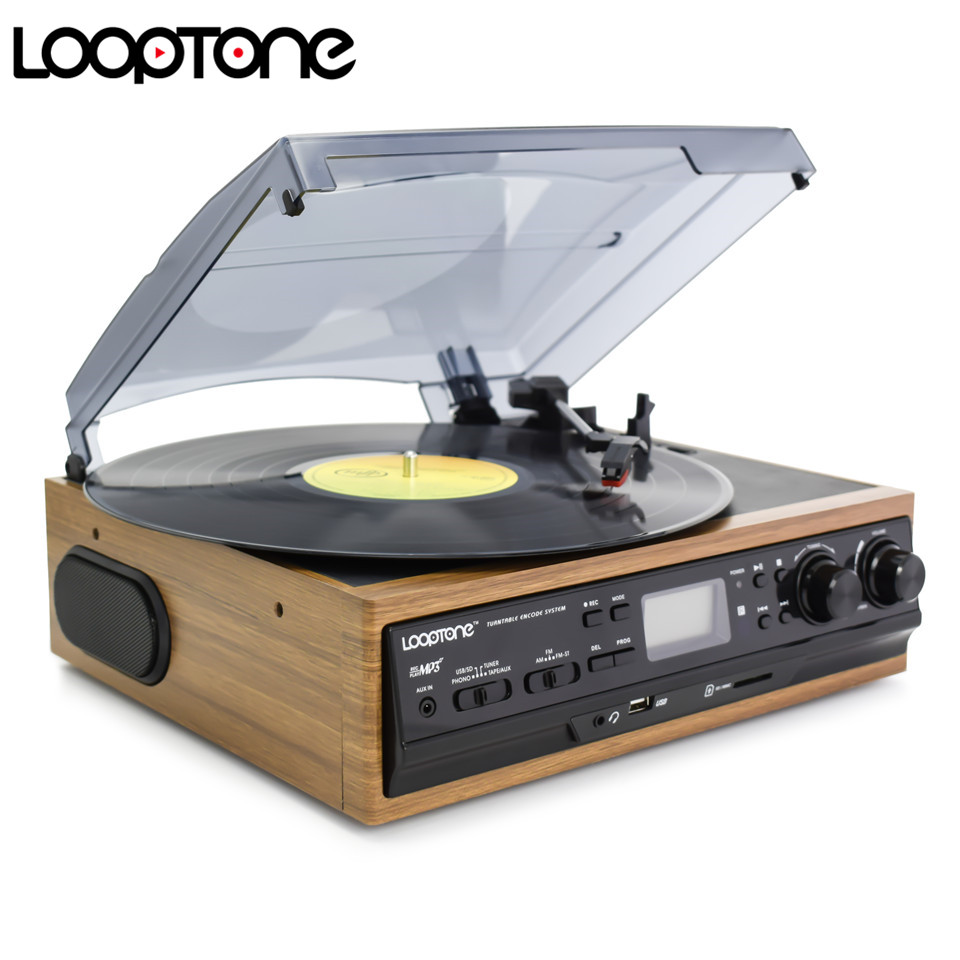 LoopTone USB Turntable Vinyl Record Player 2 Altavoces incorporados Turntables W / AM / FM Radio Cassette Grabación LP