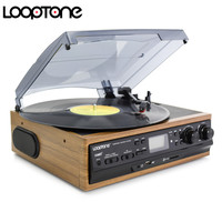 LoopTone USB Turntable Vinyl Record Player 2 Built in Speakers Turntables W/ AM/FM Radio Cassette LP Recording