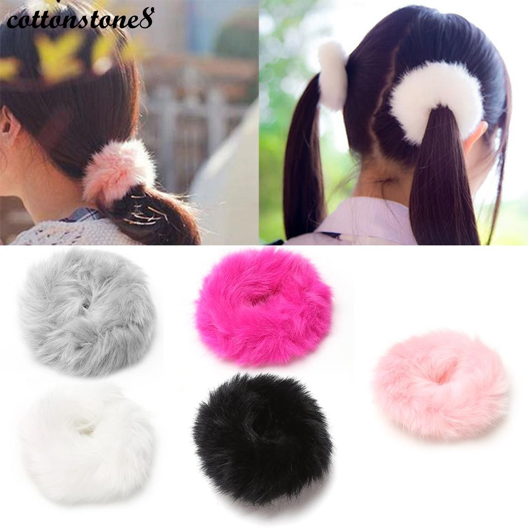 Fashion Hair Accessory Hair Bands Elastic Hairs Band Fluffy Faux Fur Furry Scrunchie Elastic Hairs Ring Rope Band Headwear pink crystal double layer classical hair stick vintage hair accessory hair stick hanfu hair accessory