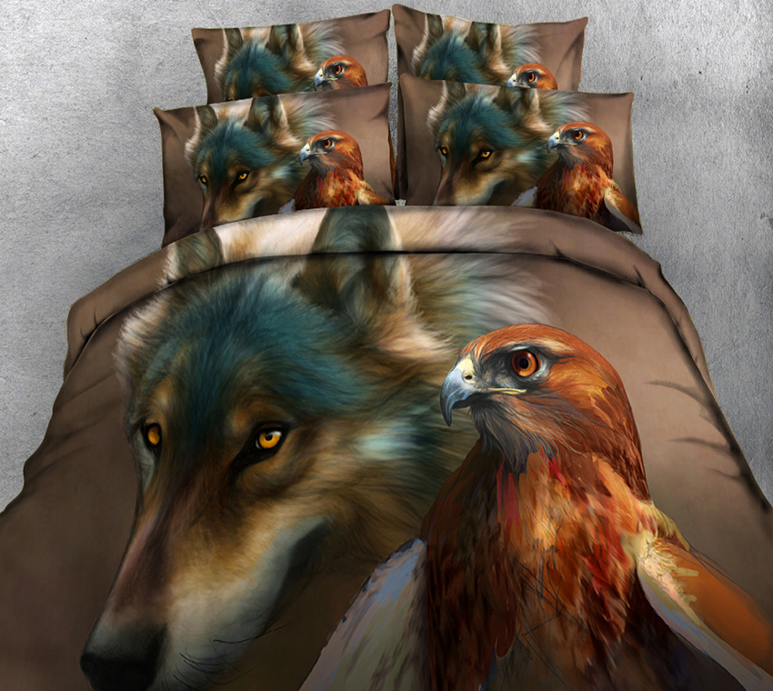 California king Wolves 3D bedding Set for bed Duvet Cover set twin full queen king size bed set printed sheet bed
