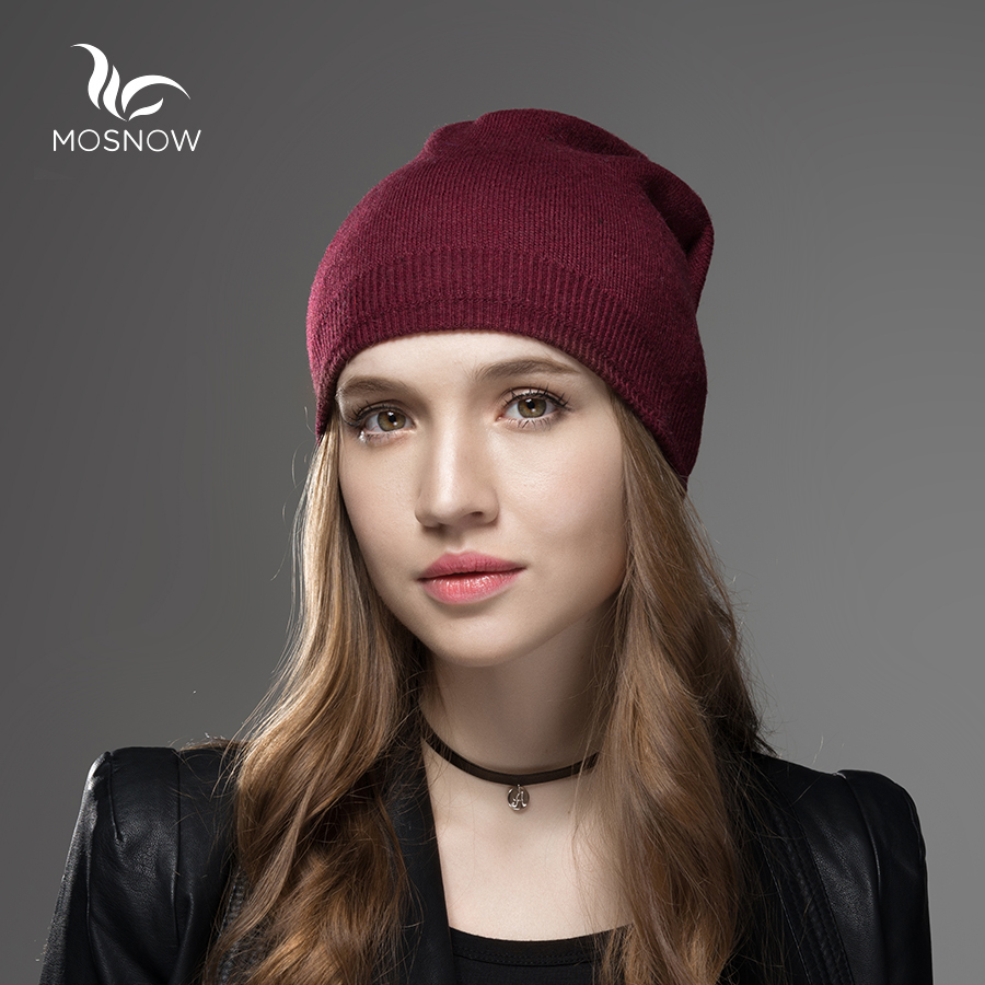 df93edd9464 Mosnow Winter Hats For Women 2018 New Solid Wool Asymmetrical Knitted Vogue  Brand Casual Warm Hat Female Skullies Beanies Bonnet-in Skullies   Beanies  from ...