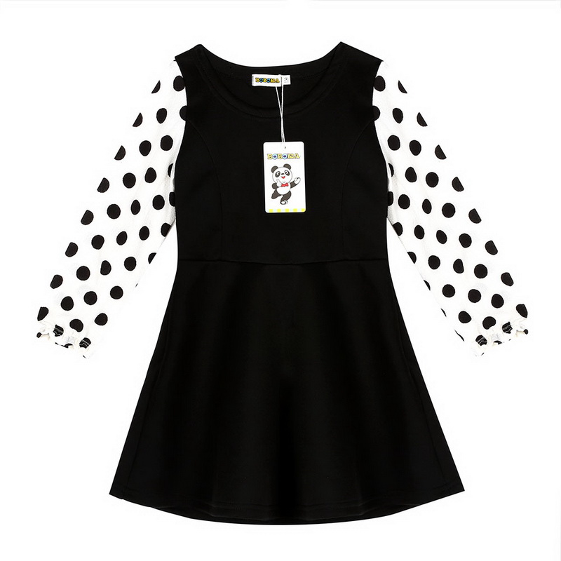 New 2016 Summer Dots Printed Girl Dress Black & White One Piece Kids Girls Clothing For Princess Infant Baby Girls Clothes light pink white polka dots one piece petti dress with white posh feather malp27