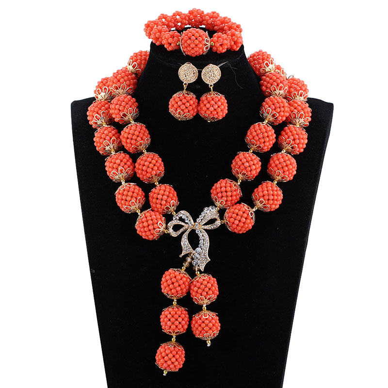 Elegant Women Bridal Coral Necklace Jewelry Set Nigerian Wedding Coral Bead Balls Costume Jewelry Set Christmas Gift CNR124 christmas balls tree print antiskid coral fleece bath mat