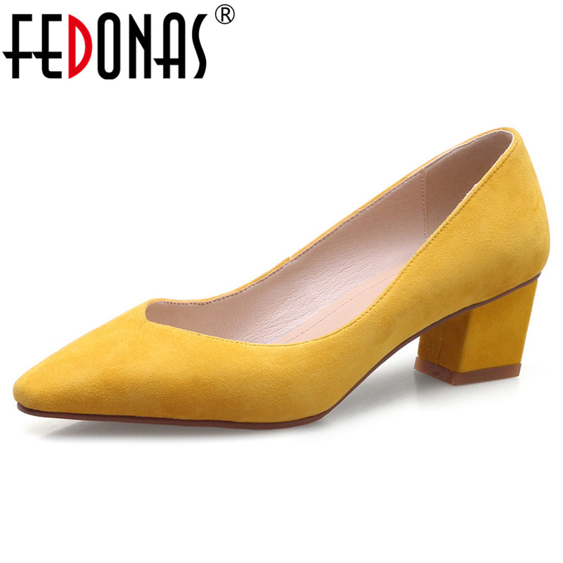 FEDONAS Basic Pumps High Heels Genuine Leather Elegant Pumps Women Thick Heels Pointed Toe Party Wedding