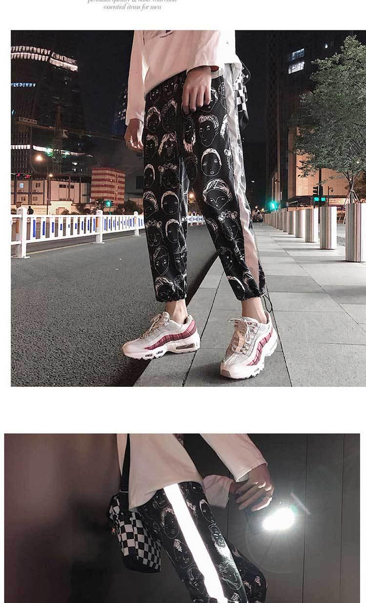 HOUZHOU Reflective Harem Gothic Pants Women Hip Hop Streetwear Ankle Length Trousers Plus Size Mid Loose Pencil Pantalon Female 11