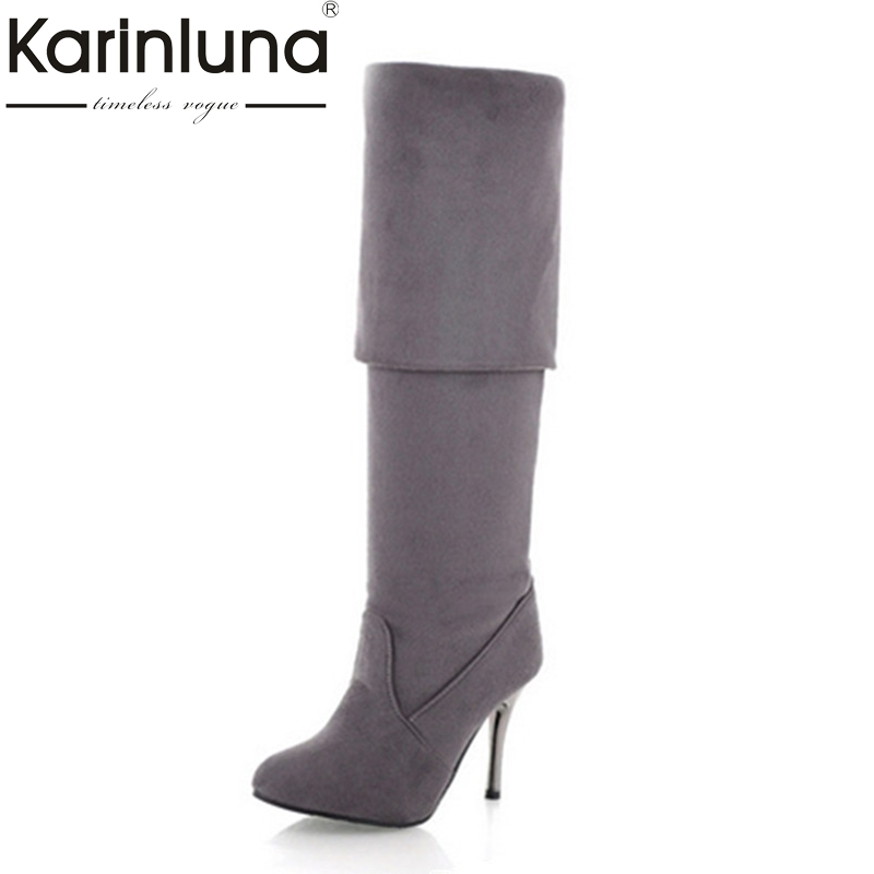karinluna Big Size 34-43 Womens High Heel Boots Over the Knee High Boots for Sexy Lady Fashion Shoes party dancing wedding nasipal 2017 new women pu sexy fashion over the knee boots sexy thin high heel boots platform woman shoes big size 34 43 g804