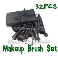 Drop Shipping New Fiber Hairy Professional Makeup Brushes Cosmetic Set Makeup Brush 32pcs Black Leather Bag