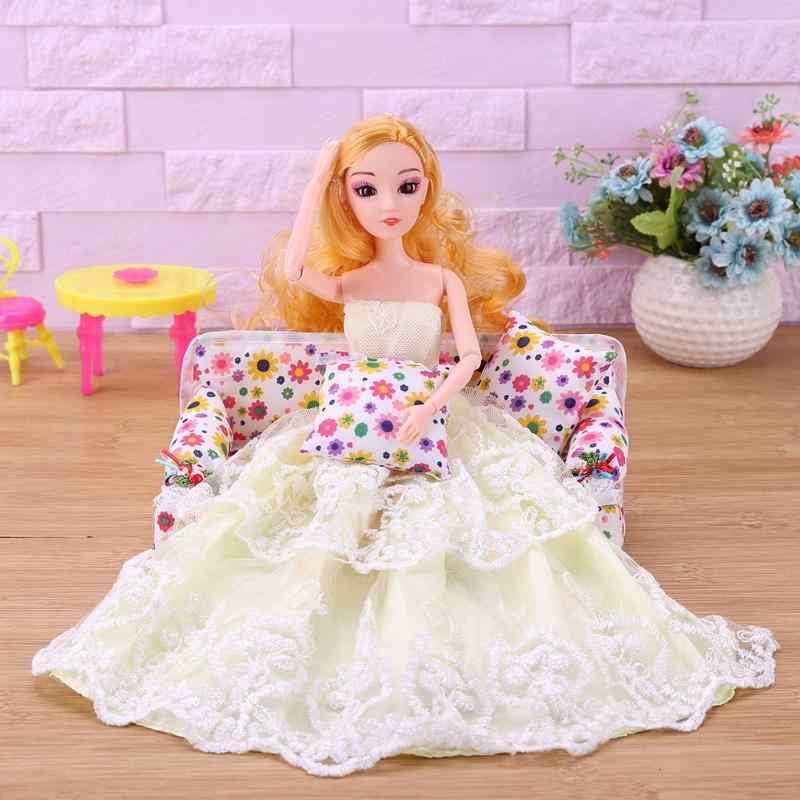 """18 ס""""מ חמוד בובות אביזרי אופנה פלסטיק בובת ראש פאה גלי שיער DIY עוגת בובת אפייה למות יפה ארוך שיער עבור ילדי בנות"""