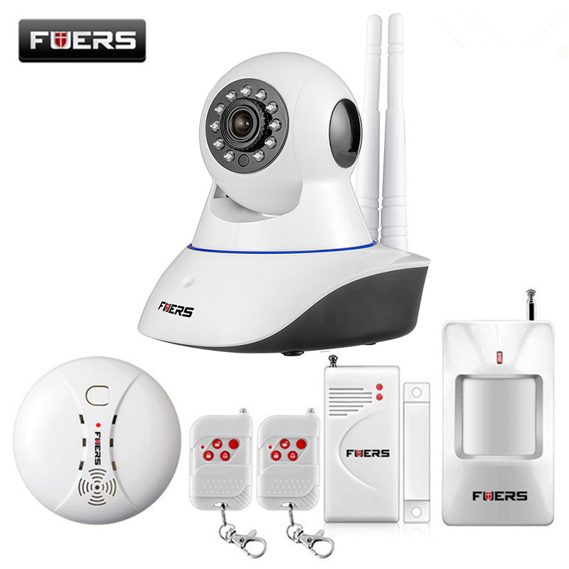 Fuers WiFi IP Camera Home Burglar Security Smoke Fire Detector Alarm System IOS/Android App Remote Control Network Alarm System