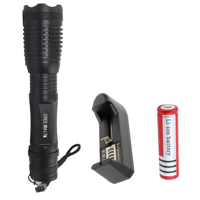 CREE XML T6 СВЕТОДИОДНЫЙ фонарик 5 Режим Масштабируемые Факел Тактический Свет Лампы Водонепроницаемый фонарь + Аккумуляторная 18650 аккумулятор и зарядное устройство