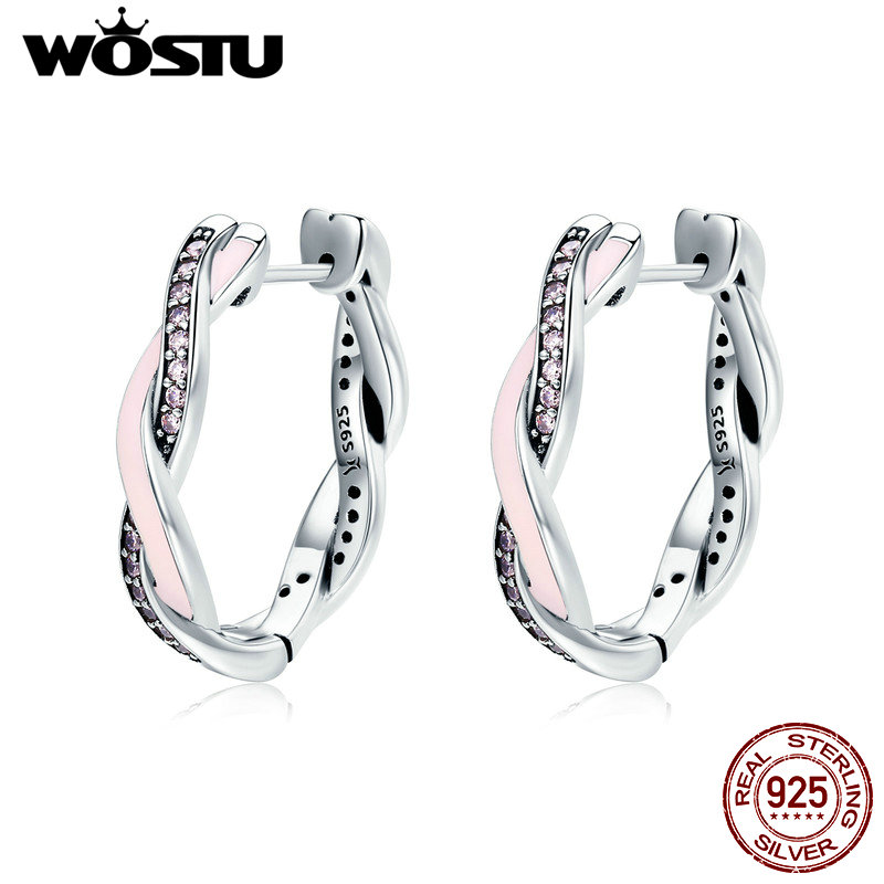WOSTU HOT SALE 100% 925 Sterling Silver Twist Of Fate Pink Enamel Stud Earrings for Women Fine Jewelry Brincos Gift CQE297 pair of hot sale stunning fashion style magnetic crown shape stud earrings