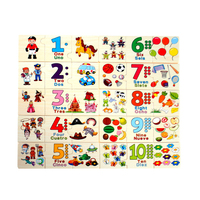 Baby Learning Educational Wooden Toys Digital Cartoon Puzzle Jigsaw Card Number Arithmetic Matching Enlightenment Gifts 4069