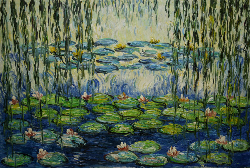 Hand Painted Water Lily Pond Claude Monet Painting