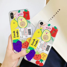 Korea Cartoon Fruits Phone Case For iphone XR XS Max X Cases For Apple iphone 6 6S 7 8 Plus XS Max XR X Soft TPU Back Cover цена