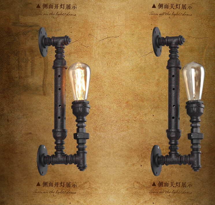 Vintage American Country Industrial Wall Lamp RH Loft  Coffee Water Pipe E27 Led Wall Light Home Decorative Wall Lights fIxtures