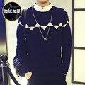 2016 Winter Plus Velvet Men Sweaters Luxury Brand Korean Kinted One-Neck Collar Pullover Men Christmas