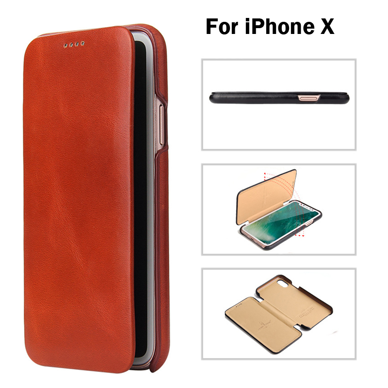 High Quality Leather Case Cover For iPhoneX XS Vintage Classic Series Folio Flip Ultra Slim Handmade