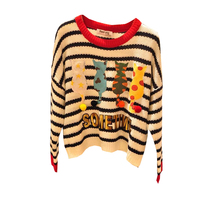 Autumn And Winter Winter Cat Sweater New Pattern Cartoon Letter O Neck Striped Print Long Sleeve