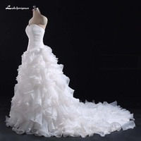 Белое Бальное Платье оборками свадебное платье 2018 Милая зашнуровать свадебное платье vestidos de noiva