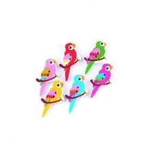 ; в розницу; 10 шт. случайный, смешанный, Милый Попугай Животные 2 отверстия роспись по дереву для пришивания пуговиц Скрапбукинг 29x34 мм