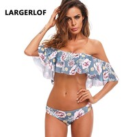 Off Shoulder Bikini Swimsuit Ruffle Sexy Strapless Bikini Floral Bandeau Swimsuit Female Bathing Suit Women BK50005