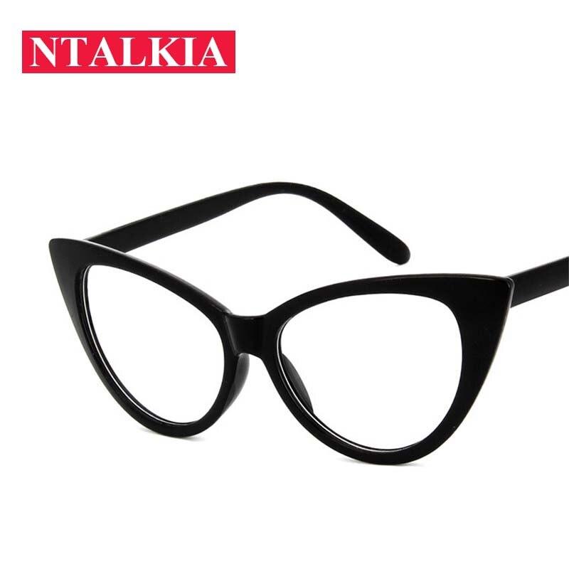 01cce81cea0bd Fashion Women Cat Eye Glasses Frames Cat s Eye Clear Eyeglasses Ladies  Spectacles Frame Retro Women s Big