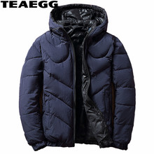 TEAEGG Winter Man Jacket Plus Size Clothes Men Hat Detachable Casual Cotton Padded Parka Masculina Mens Jackets And Coats AL612
