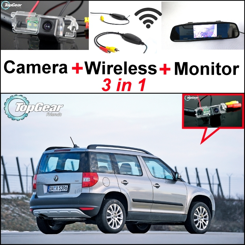 все цены на 3 in1 Special Rear View Camera + Wireless Receiver + Mirror Monitor DIY Back Up Parking System For Skoda Yeti 5D SUV 2010~2014