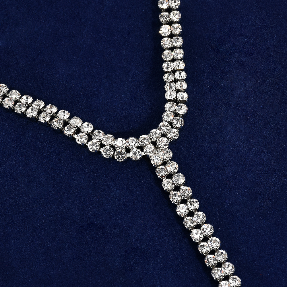 Rhinestone Long Tassel Simple Crystal Choker Necklace Women Statement Luxury