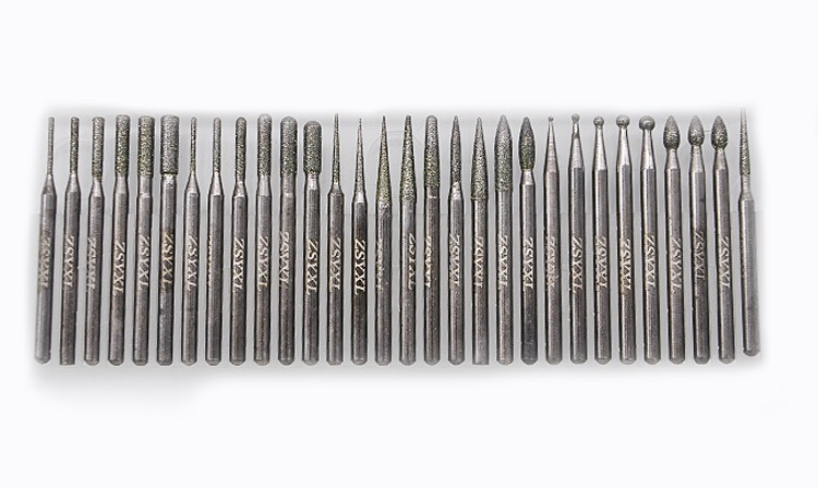 Free Shipping 30pcs DIAMOND BURS bur bit set DREMEL 3mm shank Rotary Tool Drill Bit for grinding jade, stone, marble glass ...