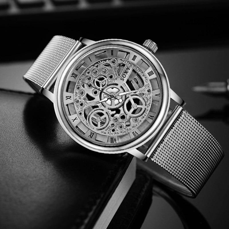 Mode SOXY Montre Argent et Or De Luxe En Acier Creux Montres Hommes Femmes Unisexe Hombre montre-Bracelet À Quartz Horloge Rétro Relogio