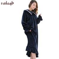 Fdfklak pink women nightwear night dress nighties for women sleepwear long nightgowns flannel new winter nightdress M XXL Q1511