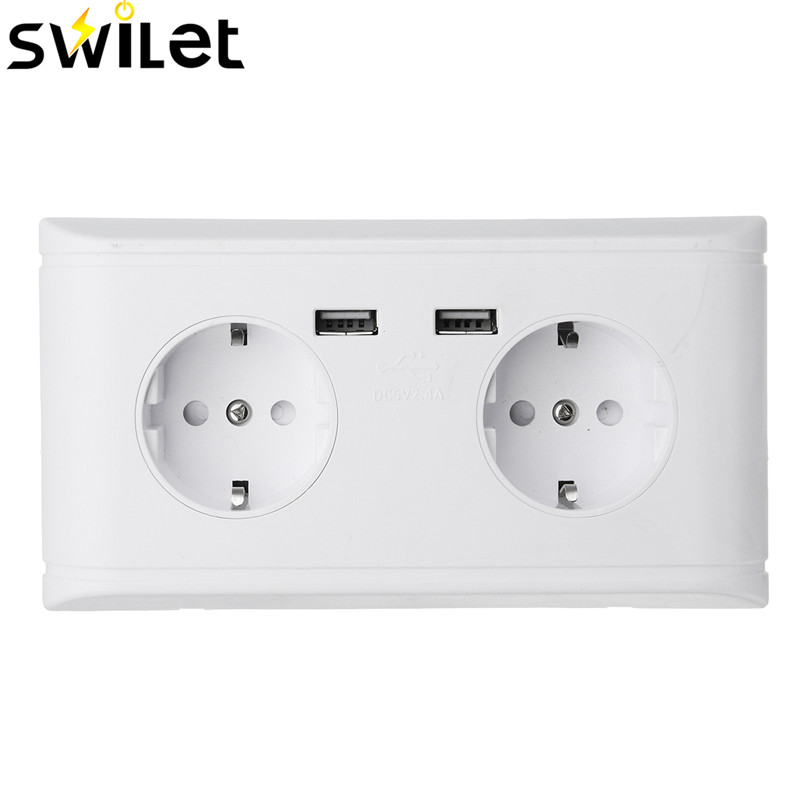 Multifunction SWILET 5V 2.4A Best Dual 2 USB Ports Power Outlet Panel EU Standard Plug Wall Socket For Charger Adapter цена