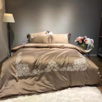 เงินสีขาวผ้าฝ้ายหรูหราชุดเครื่องนอนชุด Queen King เตียงคู่ชุดแผ่นผ้าปูที่นอนผ้านวมปลอกหมอน