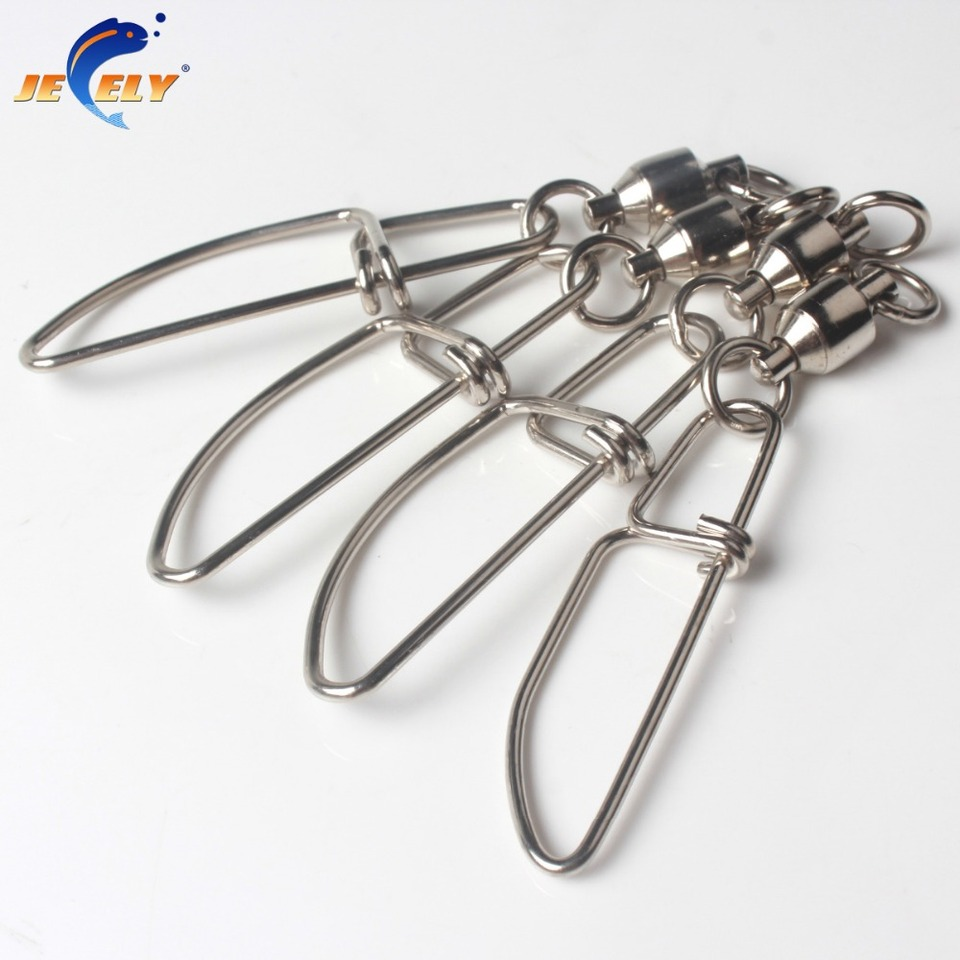 Fishing Ball Bearing Swivel Double Ring with Snap Connector for Spearfishing