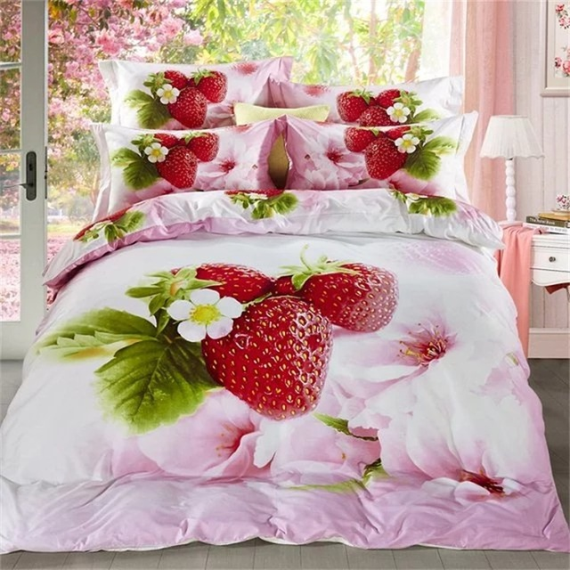 Strawberries fruit and pink flowers 3d bedding set cotton printed strawberries fruit and pink flowers 3d bedding set cotton printed duvet cover pillow case bed sheets mightylinksfo