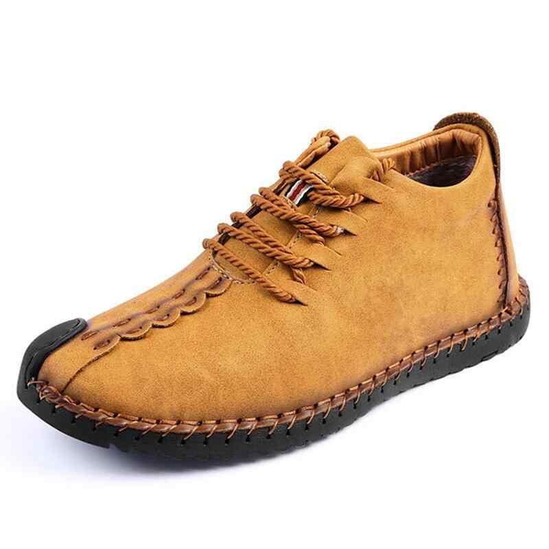 Мужские ботинки из спилка на меху Vancat, черные ботильоны на шнуровке, теплая плюшевая обувь, обувь для снега, большой размер 38–48, зима, 2019