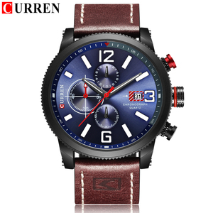 Image 2 - Brand New Fashion Quartz Mens Watch Chronograph Dial and Date Window Casual Business Wristwatch CURREN Leather Clock For Man
