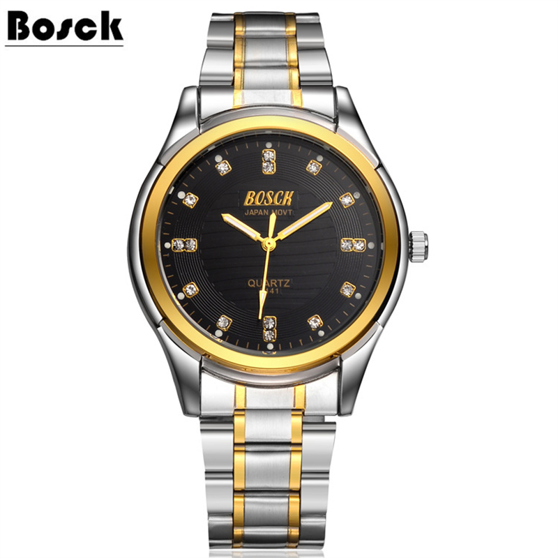 BOSCK 7341 Clock Watches Women brand Fashion dress ladies Watches Leather Stainless women Steel Analog Luxury Wrist Watch 2016 new ladies fashion watches decorative grape no word design gold watch stainless steel women casual wrist watch fd0107